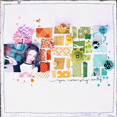 Love the rainbow of papers and the tagline; by Shanna Nalywaiko on the Studio Calico blog