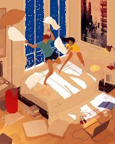 """O ilustrador Pascal Campion retrata com delicadeza e perfeição a alegria dos pequenos, íntimos e inestimáveis momentos em família. As ilustrações abaixo retratam o relacionamento do artista com sua esposaKatrina, com quem Pascal é casado por mais de 10 anos, sua filha de 9 anos e os gêmeos de 6 anos. """"Os pequenos momentos são […]"""