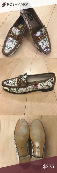 Gucci Floral Loafers Authentic Gucci loafers with a beautiful floral pattern and 100% genuine dark brown leather. Perfect for any occasion. Pre loved condition in amazing condition. True to size. Reasonable offers only. Gucci Shoes Flats & Loafers