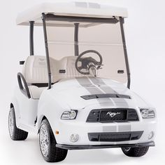 Ford Mustang Fifty Years Limited Edition Golf Car-White, The infamous golf cart is back and better than ever...redesigned to commemorate the Mustang Fifty Year Anniversary!