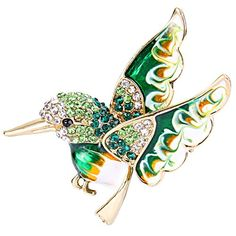 EVER FAITH GoldTone Austrian Crystal Enamel Lovely Humming Bird Brooch Pin Green -- Check this awesome product by going to the link at the image.