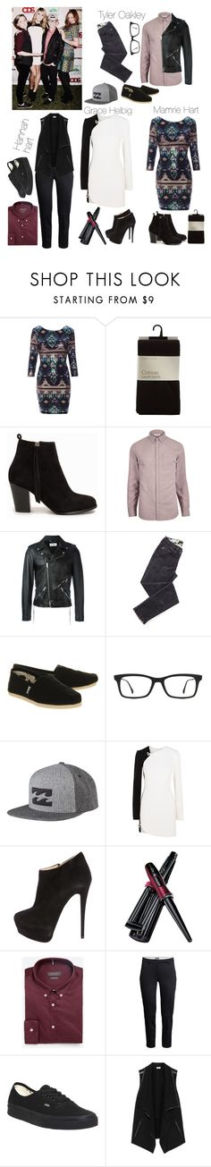 """""""Style Steal: Tyler Oakley, Mamrie Hart, Grace Helbig, and Hannah hart"""" by marymh ❤ liked on Polyvore featuring Nly Shoes, River Island, Yves Saint Laurent, TOMS, Ray-Ban, Billabong, Thierry Mugler, Giuseppe Zanotti, Ego and Zara"""
