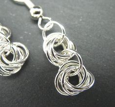 Silver chainmaille earrings