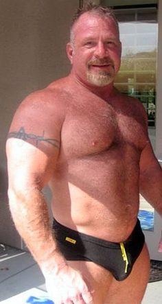 Hairy Muscular Men in Speedos Lycra Men, Muscle Bear, Muscle Guys, Beefy Men, Daddy Bear, Big Muscles, Mature Men, Older Men, Big Men