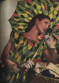 All the leaves of Eve printed on silk... // Photographed by Louise Dahl-Wolfe for Harper's Bazaar, February 1944.