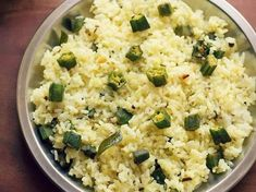 Bhindi Rice Recipe with step by step photos - Simple homely spiced okra rice where sauteed okra is mixed with cooked rice. This is an easy rice recipe. Okra Rice Recipe, Cooked Rice Recipes, Leftover Rice Recipes, Easy Rice Recipes, Indian Okra Recipes, Ethnic Recipes, Lady Fingers Recipe, Yummy Treats