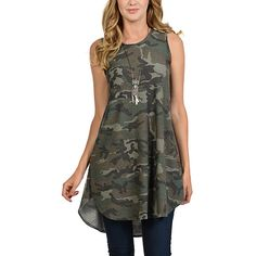 Cool Melon Olive Camo Sleeveless Dress ($20) ❤ liked on Polyvore featuring dresses, plus size, short in front long in back dress, olive green dress, sleeveless long dress, olive green long dress and long dresses