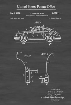 A patent print poster of a 1962 Porsche Motor Vehicle Body construction invented by the legendary Ferdinand Porsche. The patent was issued by…