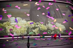 In the car: Hydrangeas, Baby's Breath & Peonies