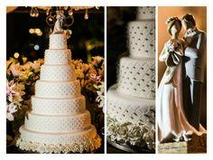 Bolo clássico  - Topo de Bolo - Noivinhos - Bolo - Wedding Cake - Inesquecível Casamento - Bolo com pérolas - Detalhe do bolo de casamento