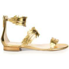 Oscar de la Renta Abigail Metallic Gold Feather Sandal