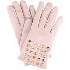 Valentino Valentino Garavani Rockstud Cashmere-Lined Leather Gloves (42,665 INR) ❤ liked on Polyvore featuring accessories, gloves, pink, valentino gloves, pink gloves, leather gloves, real leather gloves and pink leather gloves