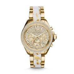 Wren Chronograph Stainless Steel Watch - Gold Tone With chic white acetate complete with zebra-inspired gold flecks, pave crystal trim and a glittering Roman numeral dial, the Michael Kors' Wren watch has never been so glamorous. Click to View Our Michael Kors 2-Year Warranty