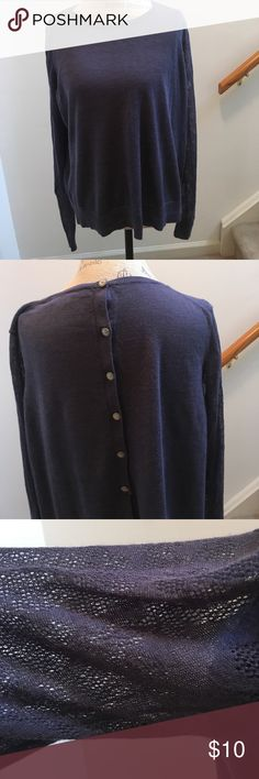 LOFT sweater. Beautiful blue LOFT sweater.  Buttons down the back.  Lace sleeves.  Size XL. LOFT Sweaters