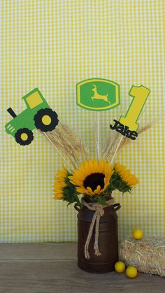 John Deere Tractor Farm Centerpiece Green Tractor 2 by EMTsweeetie, $15.00 I would do these with Joe's name and number forty and a red tractor to match the invitation. And maybe sunflowers on the vase.