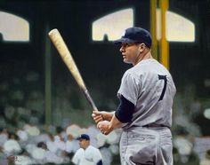 Mickey Mantle, NY Yankees by Graig Kreindler Baseball Painting, Baseball Art, Sports Baseball, Sports Art, Sports Decor, Star Trek Posters, The Mick, Sports Drawings, Baseball Classic