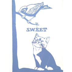 Sweet, cat and bird in tree paper cutting