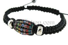 Zinklegierung Shamballa Armbänder, mit Wachsschnur & Messing, mit Strass, frei von Nickel, Blei & Kadmium, 13x16mm, verkauft per 7.5 Inch1 S...