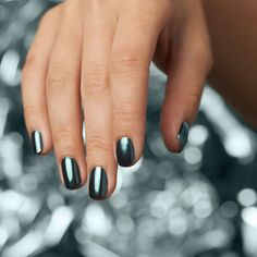 """Our favorite order at the salon. Get this fierce blue nail look by combining """"Blue Plate Special"""" in OPI Chrome and """"Black Onyx. Purple Chrome Nails, Chrome Nail Art, Blue Nails, My Nails, New Nail Polish, Nail Polish Colors, Wholesale Nail Supplies, Local Nail Salons, Chrome Powder"""
