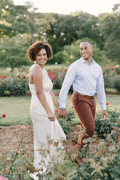 Romantic engagement session amongst the roses at Norfolk Botanical Garden by Sarah Street Photography.