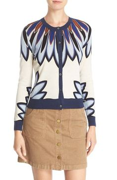 Free shipping and returns on Tory Burch 'Sawyer' Floral Print Wool & Silk Cardigan at Nordstrom.com. Bold petals make a splash over a refined cardigan in a lightweight knit of wool and silk with solid ribbed trim.