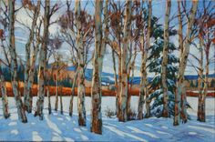 Awh, it's so cool? Winter Landscape, Landscape Art, Landscape Paintings, Landscapes, West Coast Cities, Painting Trees, Canadian Artists, Learn To Paint, Tree Art