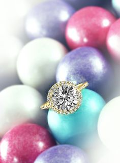 #round #diamond #ring with #brilliant #round #set in #yellow #gold #gumballs #engagement #wedding #rings