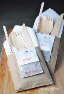 Utensils in small brown paper bags... a great idea for kids party!