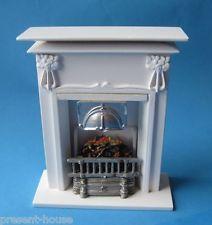 Grosser Kamin weiss edel für Puppenhaus Wohnzimmer, Arbeitszimmer Miniatur 1:12