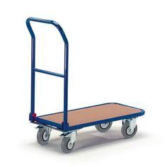 GTARDO.DE:  Schiebebügelwagen Klappbügel, Tragkraft 150 kg, Ladefläche 720x450 mm, Maße 800x450 mm, Rad-Ø 125 mm 139,00 €