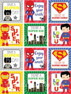 PRINTABLE SET OF 12 Superhero Lunch Box Notes by mlf465 on Etsy