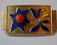 J Tostrup Modernist  Enamel & Coral Cabochon Sterling Silver Gilt Pin