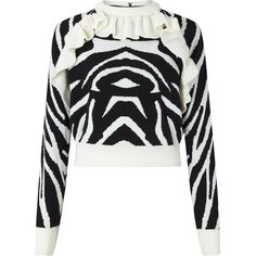 Tiger Jumper Black White ❤ liked on Polyvore featuring tops, sweaters, merino wool sweater, black white sweater, ruffle neck top, merino wool tops and white and black top