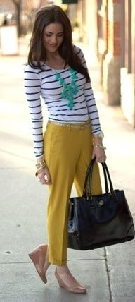 Outfit Posts: outfit post: mustard pencil skirt, striped shirt, teal necklace