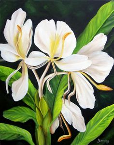 White Ginger Painting  - Alcantara Dominica Acrylic