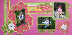 Scrapbook Page - Grandchildren on a Summer Day 2 page layout with flowers - from Everyday Life Album 19