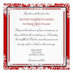 Christmas wedding invitation ideas wedding invitations pinterest red white gold snowflake wedding invitations stopboris Image collections