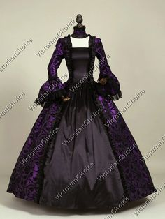 Victorian Gothic Dress Gown Sexy Witch Vampire Reenactment Halloween Costume