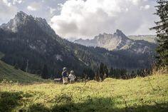 LIFEforFIVE-Wandern-mit-Kindern-Unsere beiden Töchter laufen über eine Almwiese.