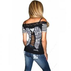 Gothic Angel Striped Lace Tee by Demi Loon (Black/White)