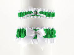 set bridal garter white and green satin garter by FashionForWomen