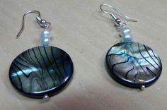 Beaded Dangle Drop Earrings Lustrous Blue Shell by BloomsCreations