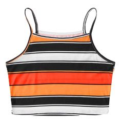 Alalaso Stripe Print Tank Top Women Fashion Sexy Sleeveless T-Shirt Tops(Yellow,L) Top Streetwear, Retro Summer, Hip Hop Outfits, Beach Casual, Summer Tank Tops, Sexy Shorts, Printed Tank Tops, Crop Tank, Blouses For Women