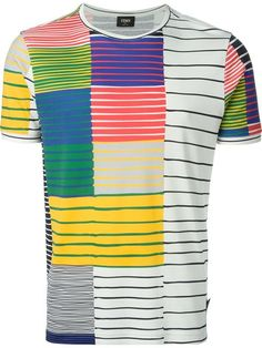 Shop Fendi squares stripe print T-shirt in Monti from the world s best  independent boutiques aa096e35621