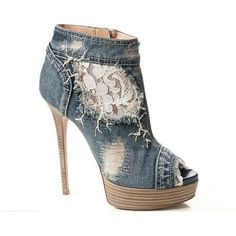 Women's peep toe jeans lace boots short, platform high heel shoes... ❤ liked on Polyvore