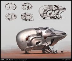 Nice texture on front — BLAST: Spaceship Sketches and Renderings