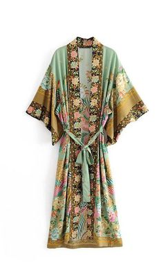 Cheap Blouses & Shirts, Buy Directly from China Suppliers:Bohemian V neck Peacock Flower Print Long Kimono Shirt Ethnic New Lacing up With Sashes Long Cardigan Loose Blouse Tops femme Kimono Shirt, Haut Kimono, Top Kimono, Gilet Kimono, Long Kimono Cardigan, Kimono Dress, Kimono Duster, Yukata Kimono, Hijab Dress
