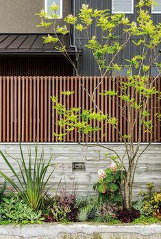 和想デザイン | project | Our works Fence Gate Design, Front Yard Garden Design, Front Gate Design, Garden Landscape Design, Japanese Plants, Small Japanese Garden, Landscaping Retaining Walls, Front Yard Landscaping, Balcony Herb Gardens