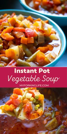 This recipe is unbelievably easy to make and a perfect healthy comfort food that is loaded with delicious vegetables. The flavorful broth tastes like it has been simmering for hours when it takes less than an hour to make. Pressure Cooker Vegetable Soup, Vegetable Soup Recipes, Vegetarian Recipes Easy, Instant Pot Pressure Cooker, Pressure Cooker Recipes, Lunch Recipes, New Recipes For Dinner, Side Dishes For Bbq, Healthy Comfort Food