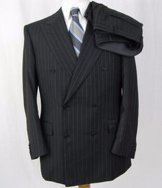 Canali Suit 40R Gray Super 120's Wool Double Breasted Dual Vented 34 x 31 A35 #Canali #DoubleBreasted